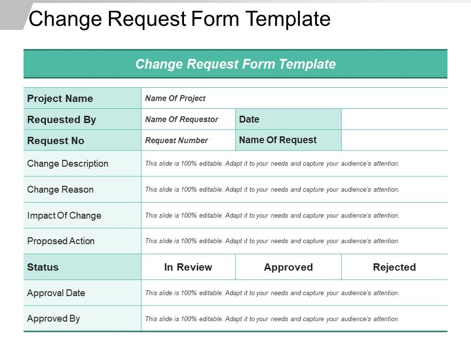 Change Request Template Excel