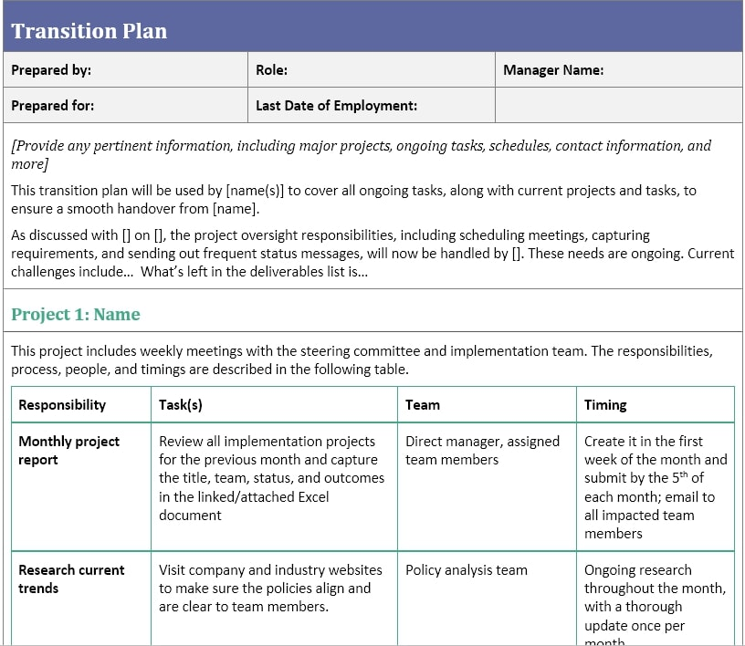 Project management Transition Plan Template