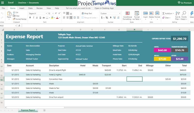 Employee Expense Sheet Template