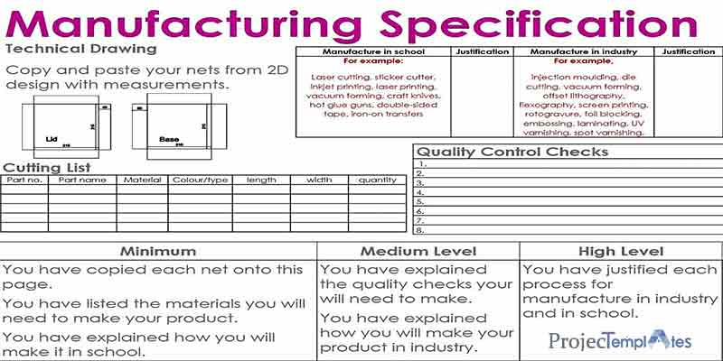 Manufacturing Specifictaion Template