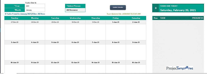 Calendar-Project-Portfolio-Dashboard
