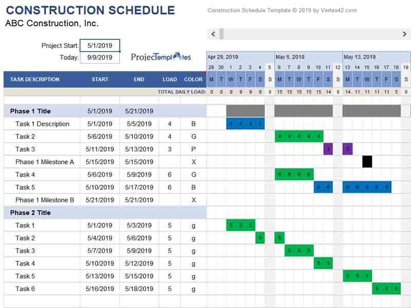 Construction timeline Template Excel