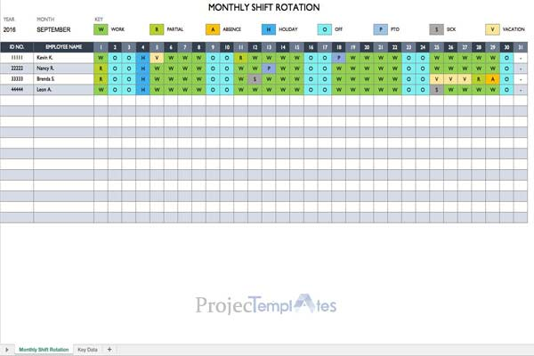 Monthly Shift Rotating Template