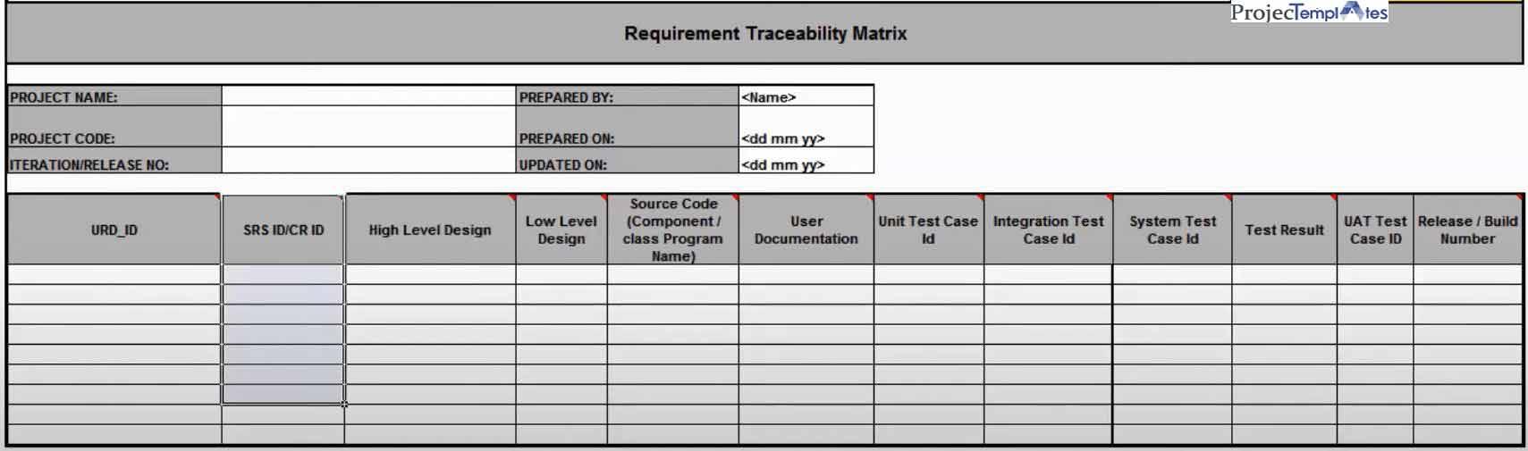 rtm Requirements Traceability Matrix Template Excel